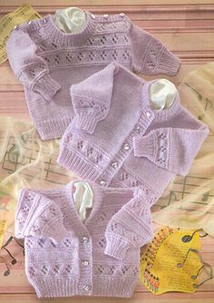"Baby Eyelet Textured Cardigans & Sweater Round/V 16 - 22"" DK Knitting Pattern"