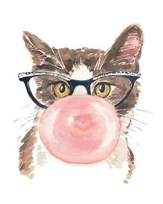 Funny Cat Watercolor Print - Pink Bubble Gum, Retro Glasses, 5x7 Painting Print, Nursery Art