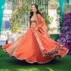84) Twirling into the Mehendi nights be like! Orange Lehenga, Purple Saree, Cape Lehenga, Lehenga Style, Lehenga Choli, Mehndi Outfit, Bridal Outfits, Bridal Dresses, Bridesmaid Dresses