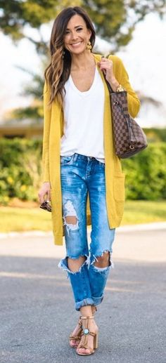 casual style addiction / cardigan + bag + ripped jeans + top + sandals