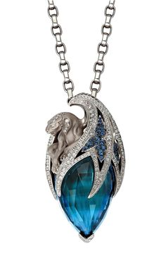 """Sapphire & Topaz Diamond Necklace - Magerit - sculpt that """"head"""" as a tiger or a dragon & this would be a perfect """"jewel"""" for royalty of alquennas. Animal Jewelry, Jewelry Art, Jewelry Accessories, Fine Jewelry, Jewelry Necklaces, Fashion Jewelry, Jewelry Design, Unique Jewelry, Bracelets"""