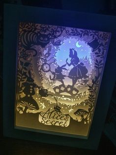 Paper Cut Light Box Night Light Table Lamp (Sailor Moon, One Piece, Alice) - Paper cut art - 3d Paper Art, Paper Artwork, Paper Folding Crafts, Paper Crafts, Diy Paper, Diy Shadow Box, Paper Light, Alice In Wonderland Party, Image Manga