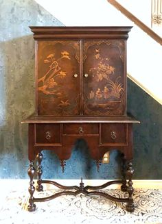 When I refinish a piece of furniture, I want it to tell a story. Some pieces don't need my help, they already have their story. Beautiful chinoiserie highboy - Available. The detailing is just fabulous! Original key unlocks the two front doors. Front Doors, Chinoiserie, Two By Two, Key, Cabinet, The Originals, Storage, Furniture, Beautiful