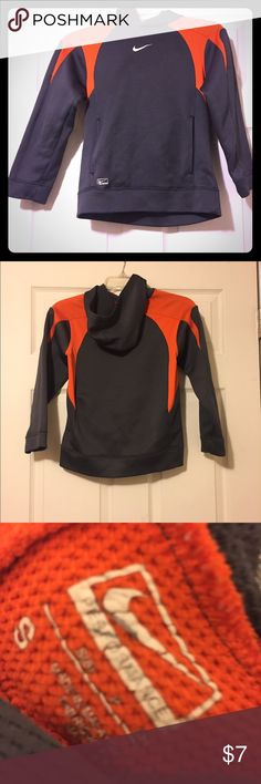 Nike Grey and Orange Hoodie Boy's Small Nike Grey and Orange Hoodie Boy's Small  Good Condition  Please ask me for more pictures if needed or any questions you may have Nike Shirts & Tops Sweatshirts & Hoodies