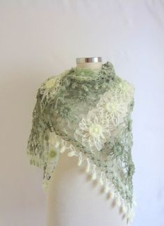 Free ship Soft Green Mohair Shawl scarf crochet by modelknitting, $55.00