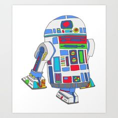 Cool Boys Like Epic Droids Art Print by beegreen Monster Illustration, Illustration Art, Illustrations, Diy Crafts For Bedroom, Bedroom Ideas, Autumn Room, Star Wars Bedroom, Etch A Sketch, Boys Like