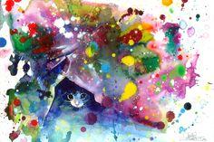 "Meow - print by Lora Zombie via ""Eyes on Walls"". $48"