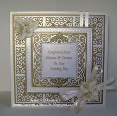 A Wedding Day Card - you've seen these dies cut in Silver, here's the dies cut in a Gold Satin Card - Using Creative Expressions / Sue Wilson's, New York Times Square also using the leaf from Camellia Complete Petals, and Spellbinders Grand Square Dies. Flowers from Wild Orchid Crafts