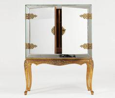 French Art Deco Burl Wood Lighted Bar Corner Cabinet | Corner ...
