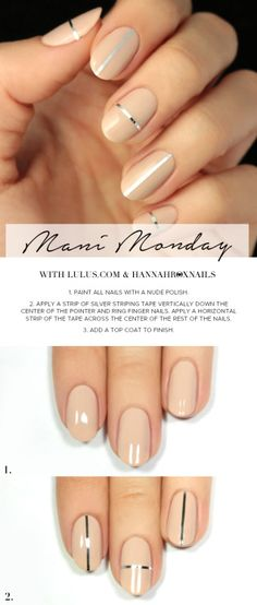 Mani+Monday:+Nude+and+Silver+Striped+Nail+Tutorial