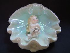 Vtg Norcrest Ceramic Mermaid Clam Shell Bathroom Wall Plaque Blue Japan w/label