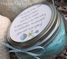 Body Scrub Baby Shower Favor ***To fill 12 four Oz jars I had to triple the recipe. So 6 cups epsom salt, 9 tablespoons baby oil, 10 drops soap scents in coconut and 6-8 drops of turquoise (coloring made specifically to dye soaps) to achieve baby blue***