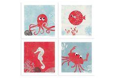 "One Kings Lane - Sweet Picks - S/4 Under The Sea 12"" x 12"" Prints"