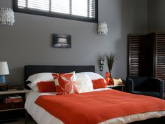 44 Beautiful Bedroom Decorating Ideas. Love the neutral colors black and grey with pop of orange! possible apt bedroom?!