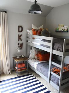 Martha Stewart Bedford Gray (from Home Depot) and the IKEA bunk beds are painted in one of my favorite colors, BM Chelsea Gray. Ikea Bunk Bed, Kids Bunk Beds, Boys Bedroom Ideas With Bunk Beds, Loft Beds, Bunkbeds For Small Room, Box Room Bedroom Ideas For Kids, Boys Room Paint Ideas, Bunk Bed Shelf, Mydal Ikea