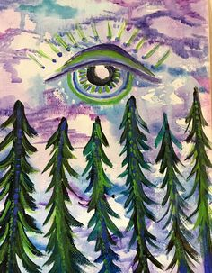 """Original Art """"Forest Eye"""" Acrylic Painting Trees Forest Woodland Third Eye Witchy Art Winter Holiday Gift Home Decor"""
