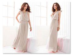 Hot New Women Princess Bohemia Pleated Wave Lace Strap Chiffon Maxi Long Dress J | eBay