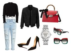 """""""#71"""" by christina-montague on Polyvore featuring adidas Originals, Christian Louboutin, LE3NO, Gucci and Versace"""