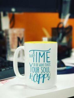 >>Make Your Soul Happy Two-Tone Mug<< Take time to make your soul happy is a reminder in-scripted on this mug in teal with a tell two-tone  #Mug