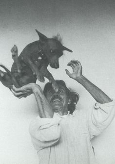 Francisco Toledo with xolo dog, the mexican painter from Oaxaca.