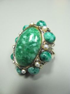 Vintage Green Costume Jewelry Ring//Green Stone and by briannauk, $15.00