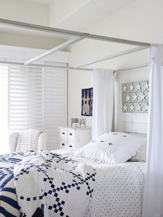Blue and white bedroom - LOVE the clean sharp look of this room!