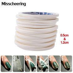 2pcs Nail Art Adhesive Tape 0.5cm&1.2cm17m Creative Design Nail Stickers,Strong Sticky Glue for DIY Nail Gel Polish Tools