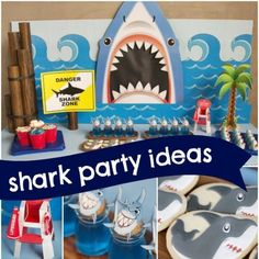 """Check out this fabulous boys' shark themed party by Julie Verville of Crowning Details. Julie has done it again with """"fin-tastic"""" celebration ideas for twins turning three! Like most boys their age, Joey and Tanner love sharks, making a shark inspired party on point!... #aquarium #birthday #boy"""