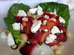 sweet strawberries are coupled with tangy balsamic vinegar, crunchy and mildly sweet macadamia nuts and salty goat cheese