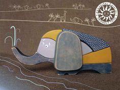 eco-friendly wooden toy elephant puzzle, handmade in Lithuania by friendlytoys on Etsy $29