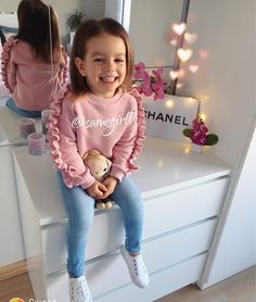 Kids Baby Girl Clothes Ruffle Tops Sweatshirt Soft Pants Outfits - The most beautiful children's fashion products Cute Little Girls Outfits, Winter Outfits For Girls, Kids Outfits Girls, Toddler Girl Outfits, Winter Clothes For Kids, Stylish Baby Girls, Winter Kids, Summer Kids, Kids Girls