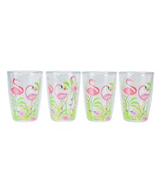 Look at this #zulilyfind! Flamingos Insulated Tumbler - Set of Four by Boston Warehouse #zulilyfinds
