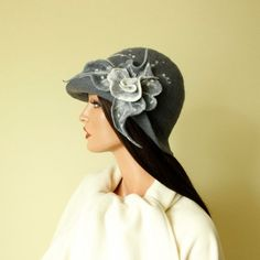 Grey gray hat felted hat cloche, felt hat with brooch, elegant and unique hand felted.