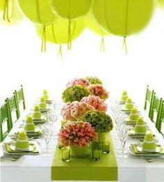lime green spring decor, paper lanterns, mini cakes