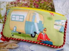 Cotton Pencil case - make  up bag - piped - camping scene . £7.95