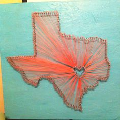 Texas nail and string craft I made for my dorm <3