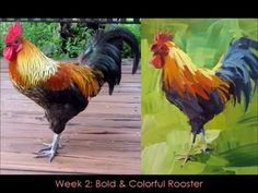 Expressive Acrylic Painting with Patti Mollica Lesson 2 Bold & Colorf Acrylic Painting Lessons, Acrylic Painting Tutorials, Painting Videos, Acrylic Art, Painting Tips, Rooster Painting, Tole Painting, Watercolor Paintings, Watercolor Tips