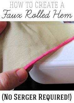 Ruffling Technique and Faux Rolled Hem Method Create faux rolled hems - no serger required! Works with any sewing machine.Create faux rolled hems - no serger required! Works with any sewing machine. Sewing Tutorials, Sewing Crafts, Sewing Projects, Sewing Patterns, Sewing Hems, Sewing Clothes, Serger Sewing, Techniques Couture, Sewing Techniques