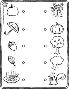 autumn - link the items that go together (observation exercise) - kiddicolour Preschool Printables, Preschool Worksheets, Matching Worksheets, Adding And Subtracting, Kids Learning Activities, Teacher Favorite Things, Drawing For Kids, Math Games, Colouring Pages