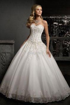 Elegant Sweetheart Floor-length Chapel Appliques Ball Gown Wedding Dress