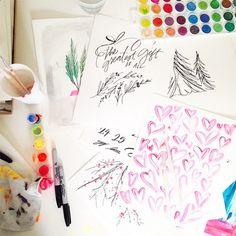 Sneak peek behind the creative process of @lindsay_letters as she worked with us on the advent calendar! #ntdadvent