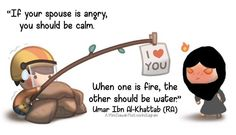 "😍 "" if your spouse is angry😠, you should be calm😄. When one is fire🔥, the other should be water💦💧. "" ~ Umar Ibn Al- Khattab (radhiallahu 'anho) Islamic Quotes On Marriage, Muslim Couple Quotes, Islam Marriage, Muslim Love Quotes, Islamic Love Quotes, Islamic Inspirational Quotes, Marriage Life, Marriage Issues, Husband Quotes From Wife"