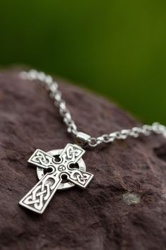 Handcrafted in Ireland, Celtic Cross ornately decorated with knot work. Mens Celtic Cross Necklace, Celtic Knot Jewelry, Irish Jewelry, Silver Rings With Stones, Chains For Men, Silver Man, Bracelets For Men, Cross Pendant, Sterling Silver Necklaces