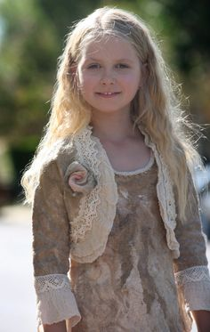 Beige felted bolero for a little girl with rose and by GBDesign