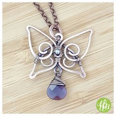 Wire wrapped butterfly necklace, amethyst wire necklace, birthstone necklace…