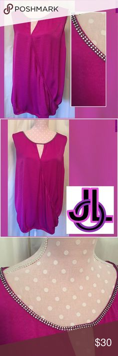 """Jennifer Lopez Magenta Waterfall Rhinestone Tank NWT JENNIFER LOPEZ SIZE 3X!  LABELED AS """"MAGENTA BOTANICAL DREAM"""" ~ABSOLUTELY GORGEOUS PURPLE PASSION TANK WATERFALL BUBBLE BLOUSE WITH RHINESTONE EMBELLISHMENT AT NECKLINE AS SHOWN ~FABRIC HAS A SLIGHTLY SATINY SHEEN TO IT ~ GORGEOUS IS THE WORD HERE LADIES!!!!!!!!!!! ~SLEEVELESS BLOUSE HAS LIGHT ELASTIC AT THE BOTTOM ~THIS PURPLE COLOR IS SO STUNNING! Jennifer Lopez Tops Blouses"""