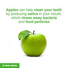 Don't have time to brush your teeth after lunch? Eating an apple produces saliva in your mouth, which rinses away bacteria and food particles, and the fibrous texture of the fruit also stimulates the gums. Pack an apple in your lunch to give your mouth a good scrubbing to tide you over until you can brush.