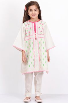 b437efb4dbe9 Khaadi – Embroidered Kurta with Pants - Kids Cute Little Girls, Little Girl  Outfits,