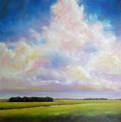 "Original art for sale at UGallery.com | Summer Clouds Marsh by Nancy Hughes Miller | $550 | oil painting | 16"" h x 16"" w | http://www.ugallery.com/oil-painting-summer-clouds-marsh"