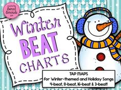 Winter Beat Charts... snowmen, snowballs, jingle bells, christmas trees and dreidels. Perfect for Kindergarten music the weeks leading up to christmas break! Point with crazy pointers or use your interactive white board pens. Music education; steady beat